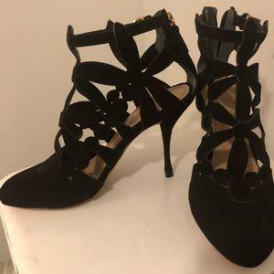 "Tory Burch black leather heels 3.75"""
